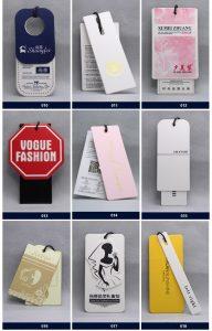 Oem logotipo personalizado marca de ropa prenda papel impreso precio etiquetas colgantes para ropa ropa de 192x300